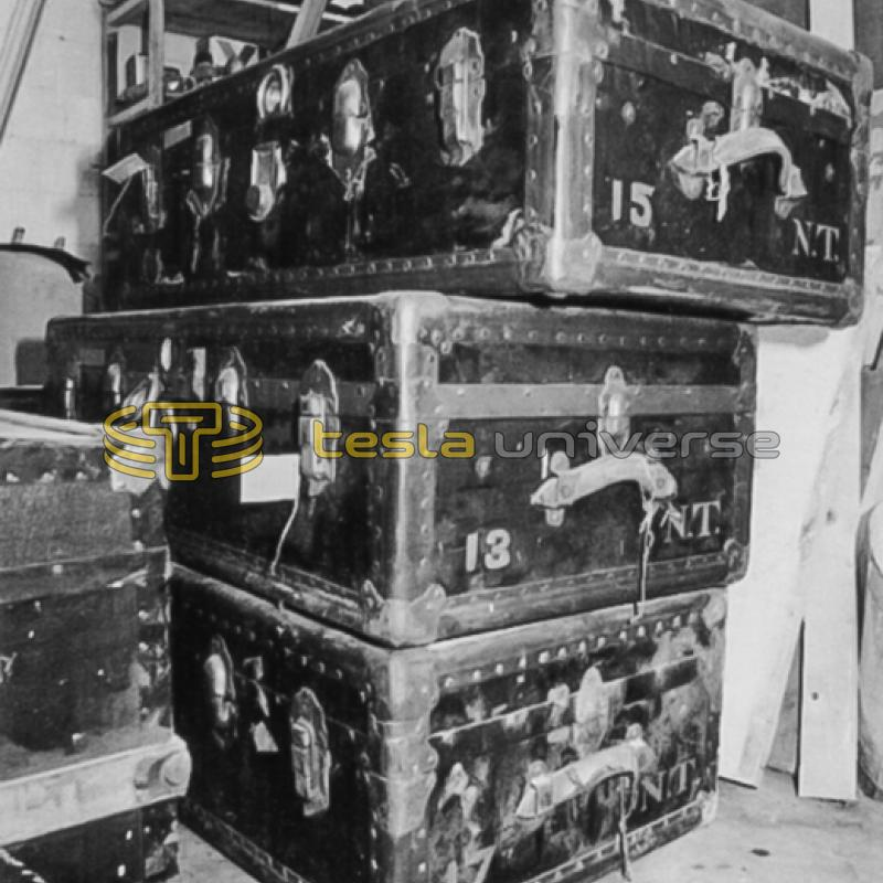 Trunks containing Tesla's estate after arriving in Belgrade
