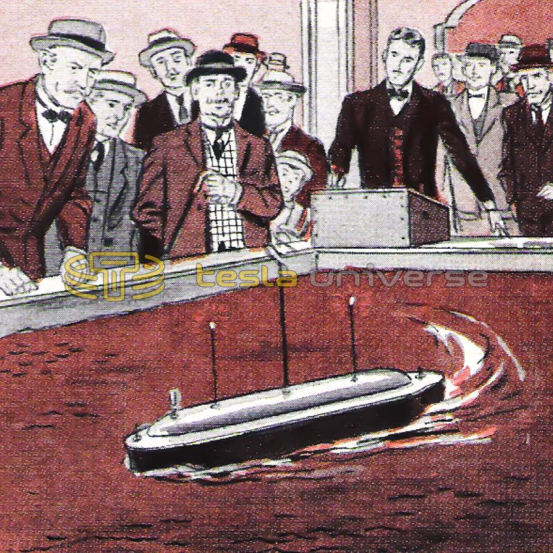 Drawing of Nikola Tesla at Madison Square Gardens demonstrating his remote-controlled boat
