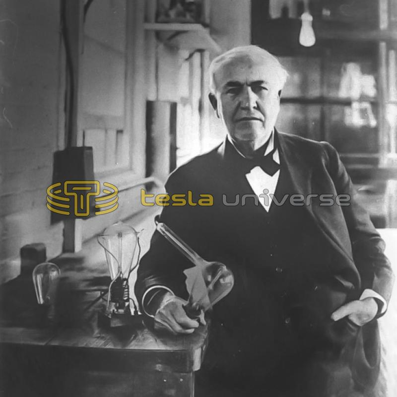 "Thomas A. Edison (with 1880 ""Edison Effect"" lamps)"