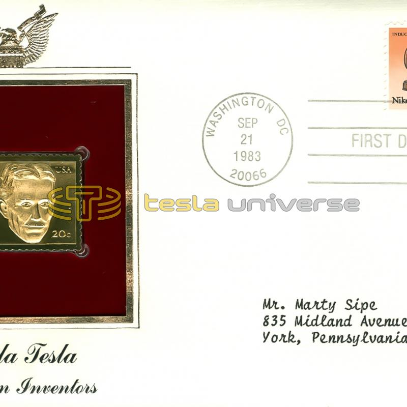 The gold leaf version of the 1983 U.S. Nikola Tesla stamp