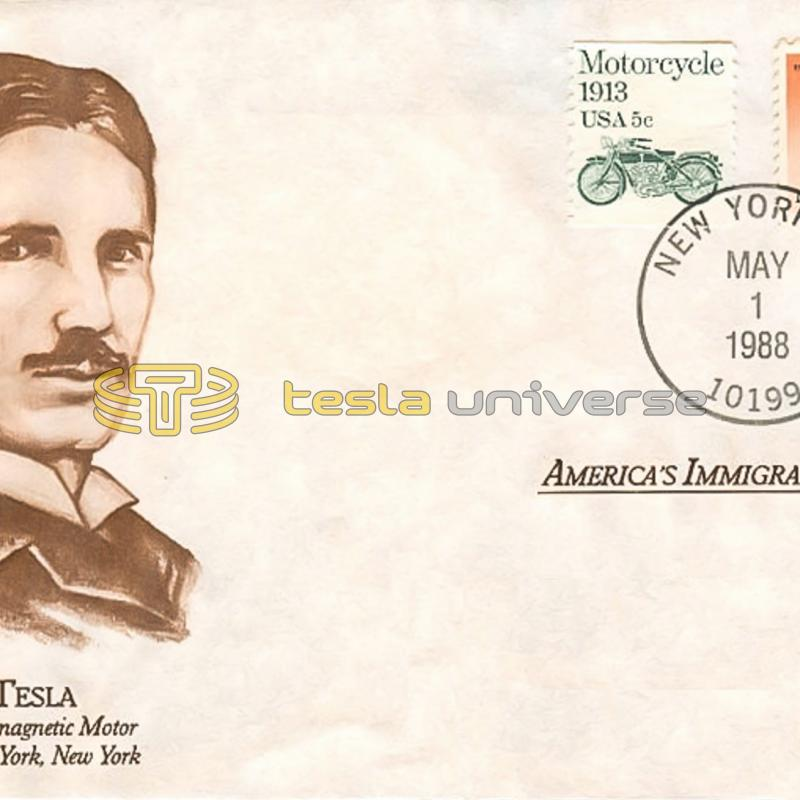 The Tesla stamp cover dedicated to America's Immigrants