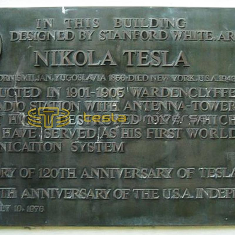The commemorative plaque honoring Tesla at the Wardenclyffe site