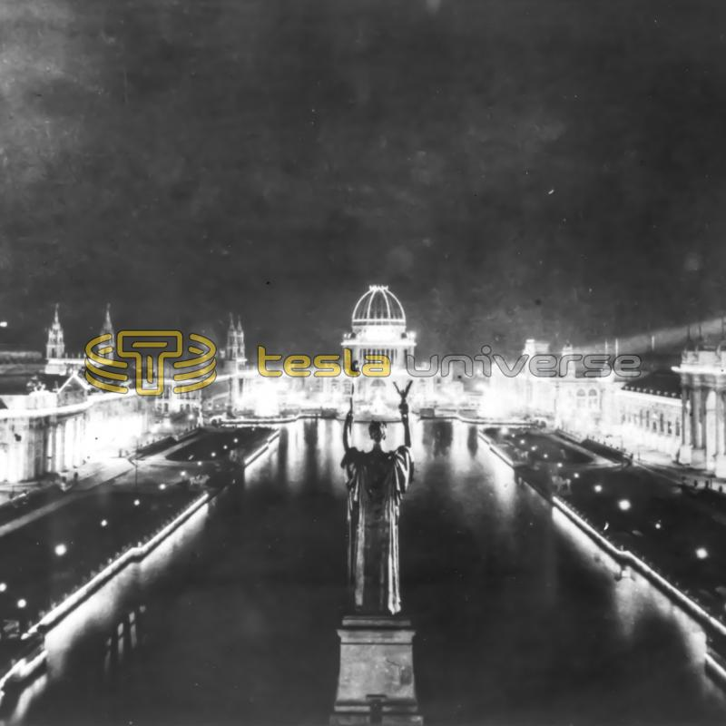 "The spectacular ""City of Light"" at the Columbian Exposition powered by Tesla's AC"