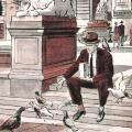 Illustration of Nikola Tesla feeding pigeons outside the library in New York City