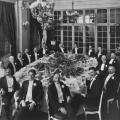 Tesla at a 1910 banquet honoring Mr. Henry Clews